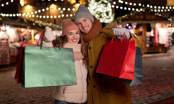 holidays, christmas and people concept - happy couple at with sh_381498