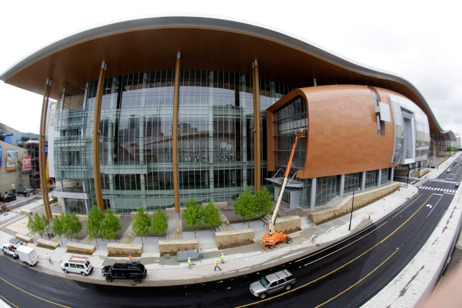 FILE - This April 29, 2013, photo made with a fisheye lens shows the Music City Center in Nashville, Tenn. Tourism comes alive in the Music City come summer, and many of the city's Nashville-based stars enjoying playing tourist, too. (A P Photo/Mark Humphrey)
