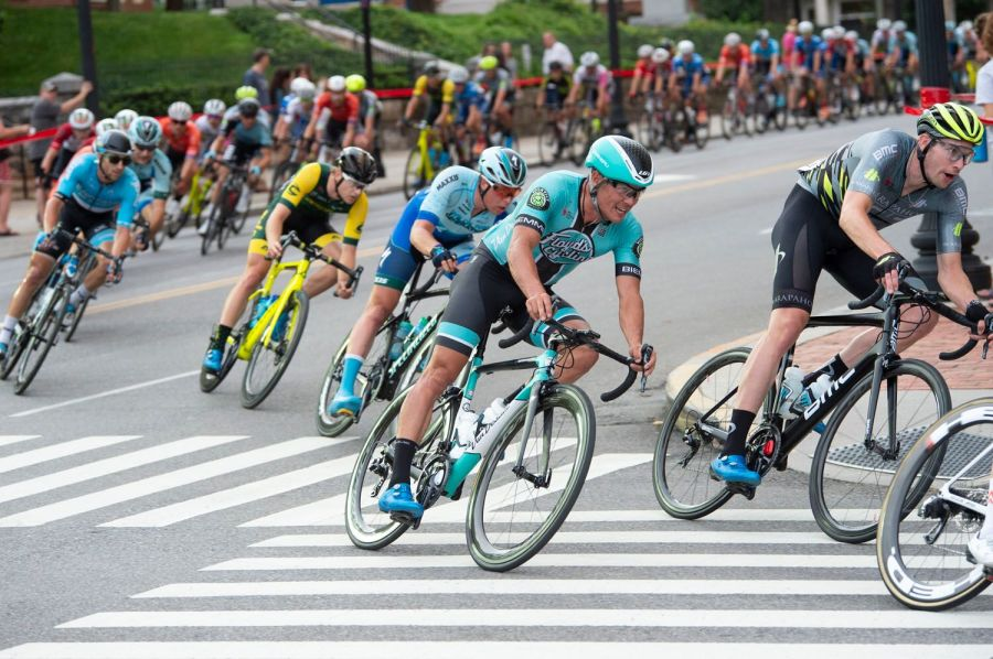Action from the 2019 USA Cycling Pro Road National Championship criterium on Friday night, June 28, 2019, in Knoxville, Tenn. (Photo by Casey B. Gibson for USA Cycling)