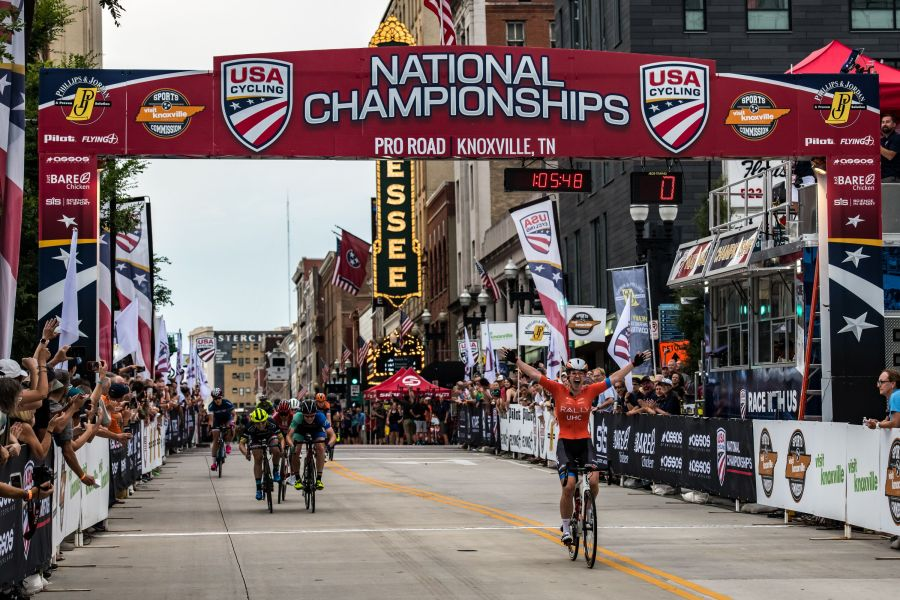 Emma White of Rally UHC Cycling won the 2019 USA Cycling Pro Pro Women's Criterium national champion title on Friday night, June 28, 2019, in Knoxville, Tenn. (Photo by Casey B. Gibson for USA Cycling)