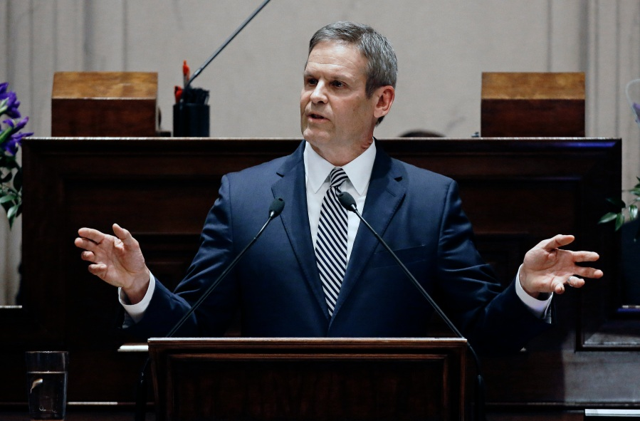 FILE - In this March 4, 2019 file photo, Tennessee Gov. Bill Lee delivers his first State of the State Address in Nashville, Tenn. Tennessee's first-term Republican governor is thinking about using private consultants to help implement his political agenda despite boasting about hiring staffers for their ability to do just that. And consulting firms are lining up in hopes of snagging big, taxpayer-funded contracts. (AP Photo/Mark Humphrey, File)