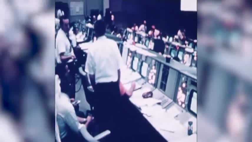 NASA's old Mission Control in Houston has been meticulously restored to the way it looked 50 years ago when two men first landed on the moon. It was last used for space shuttle flights in the 1990s. It opens to the public next week. (AP)