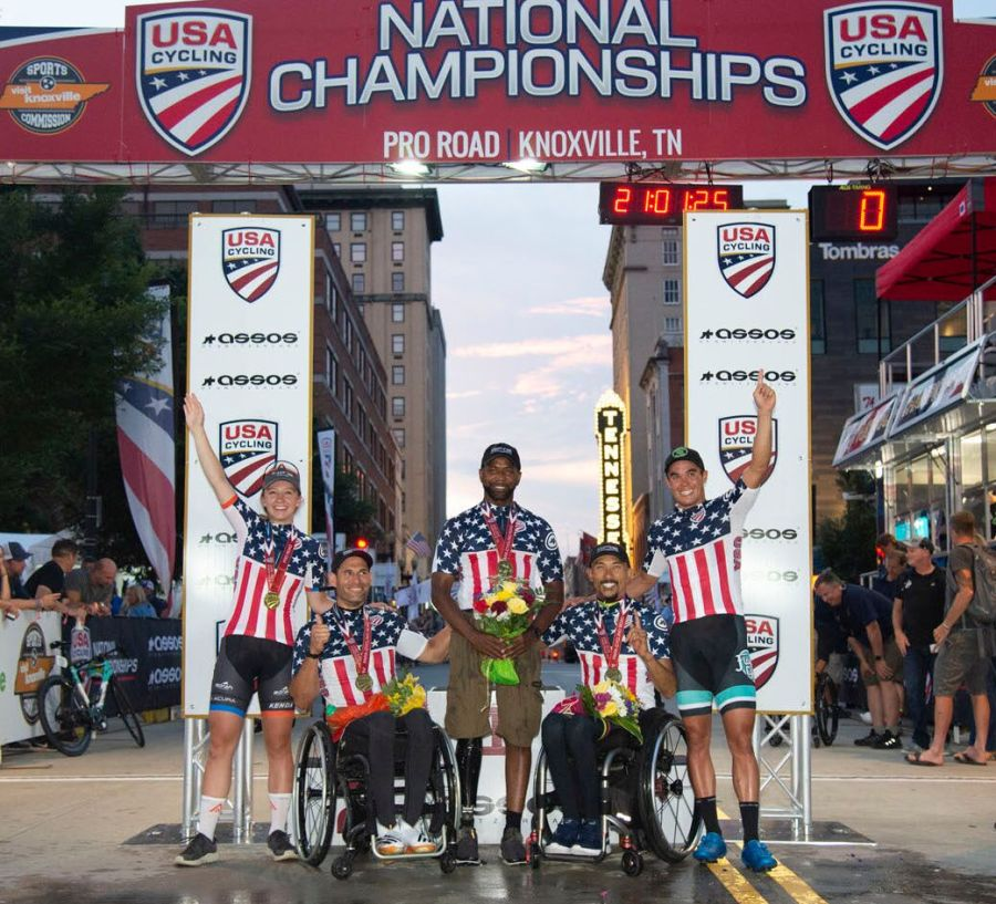USA Cycling Championship criterium winners on Friday, June 28, 2019, in Knoxville, Tenn. (Photo by Casey B. Gibson for USA Cycling)