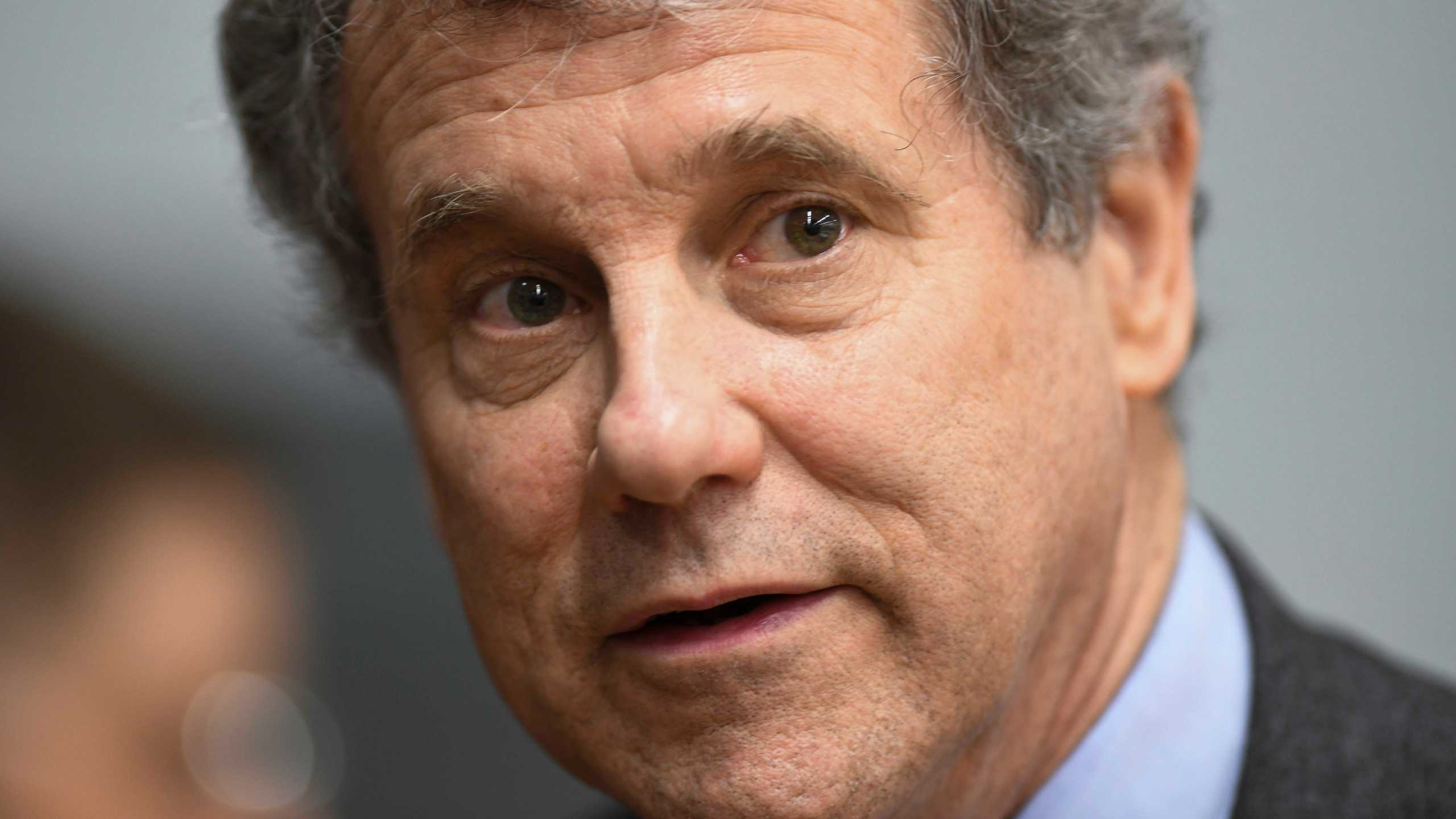 FILE - In this March 3, 2019 file photo, Sen. Sherrod Brown, D-Ohio, speaks to reporters (AP Photo/Julie Bennett)
