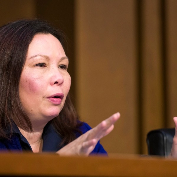 FILE - In this March 27, 2019 file photo, Sen. Tammy Duckworth, D-Ill., speaks during a Senate Transportation subcommittee on commercial airline safety, on Capitol Hill, in Washington. (AP Photo/Alex Brandon File)