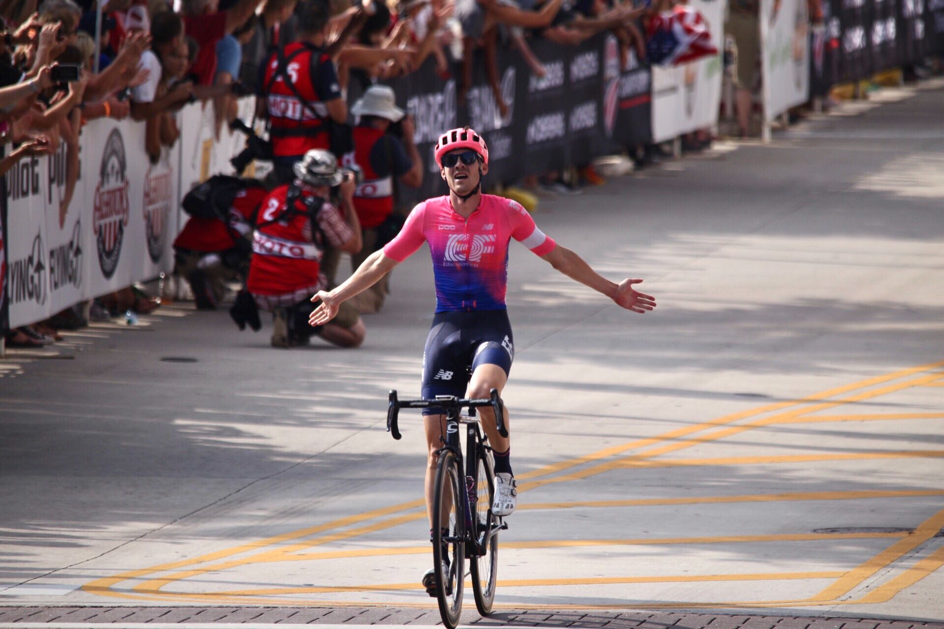 Alex Howes crosses the finish line to win the men's 2019 USA Cycling Pro Road National Championship on Sunday, June 30, 2019, in Knoxville, Tenn. (David Killebrew / WATE)