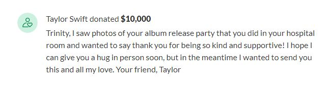 Taylor Swift donates to LaFollette teen battling cancer