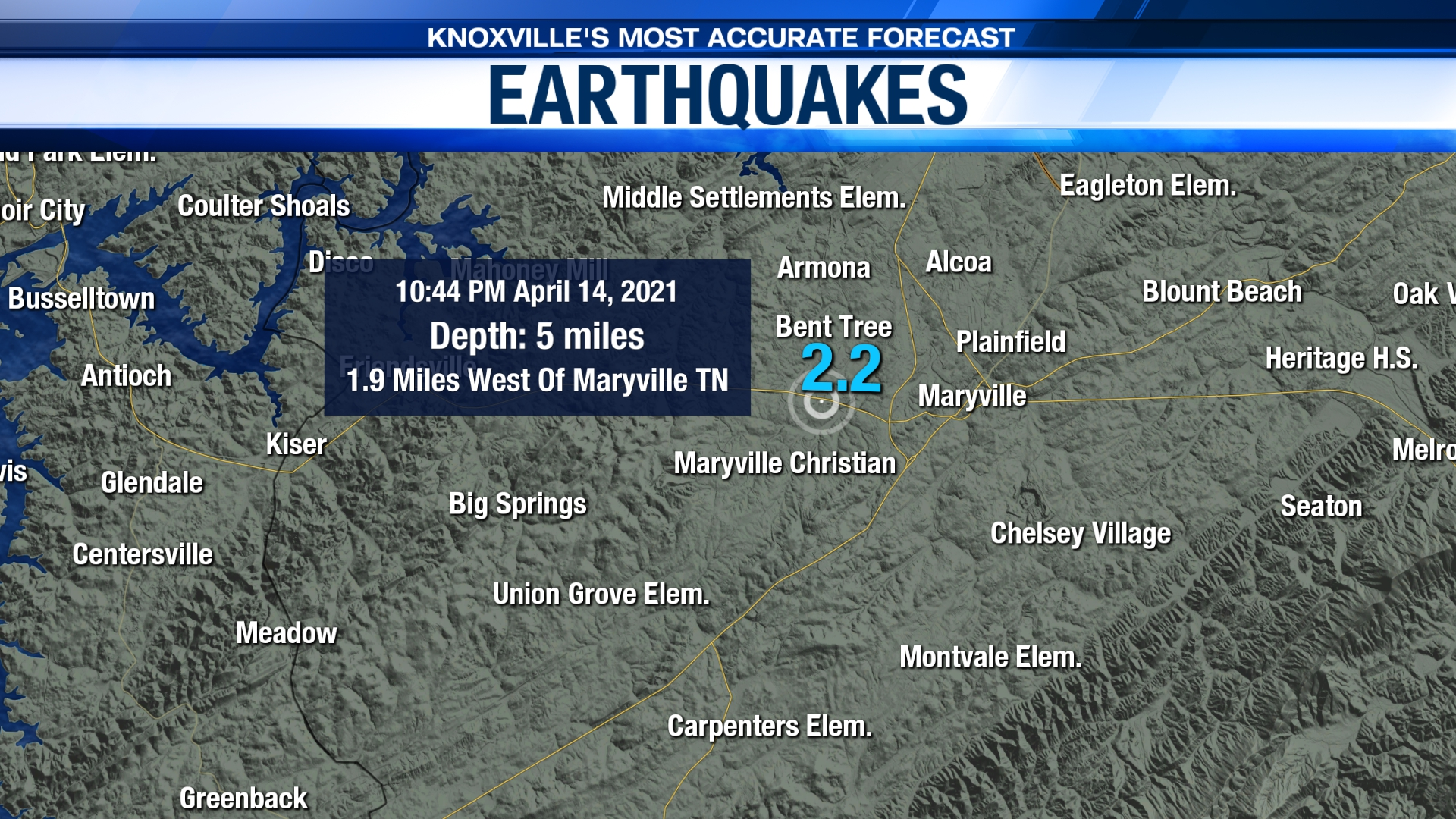 2.2 magnitude earthquake near Maryville
