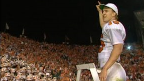 Peyton Manning leads the band in a playing of Rocky Top