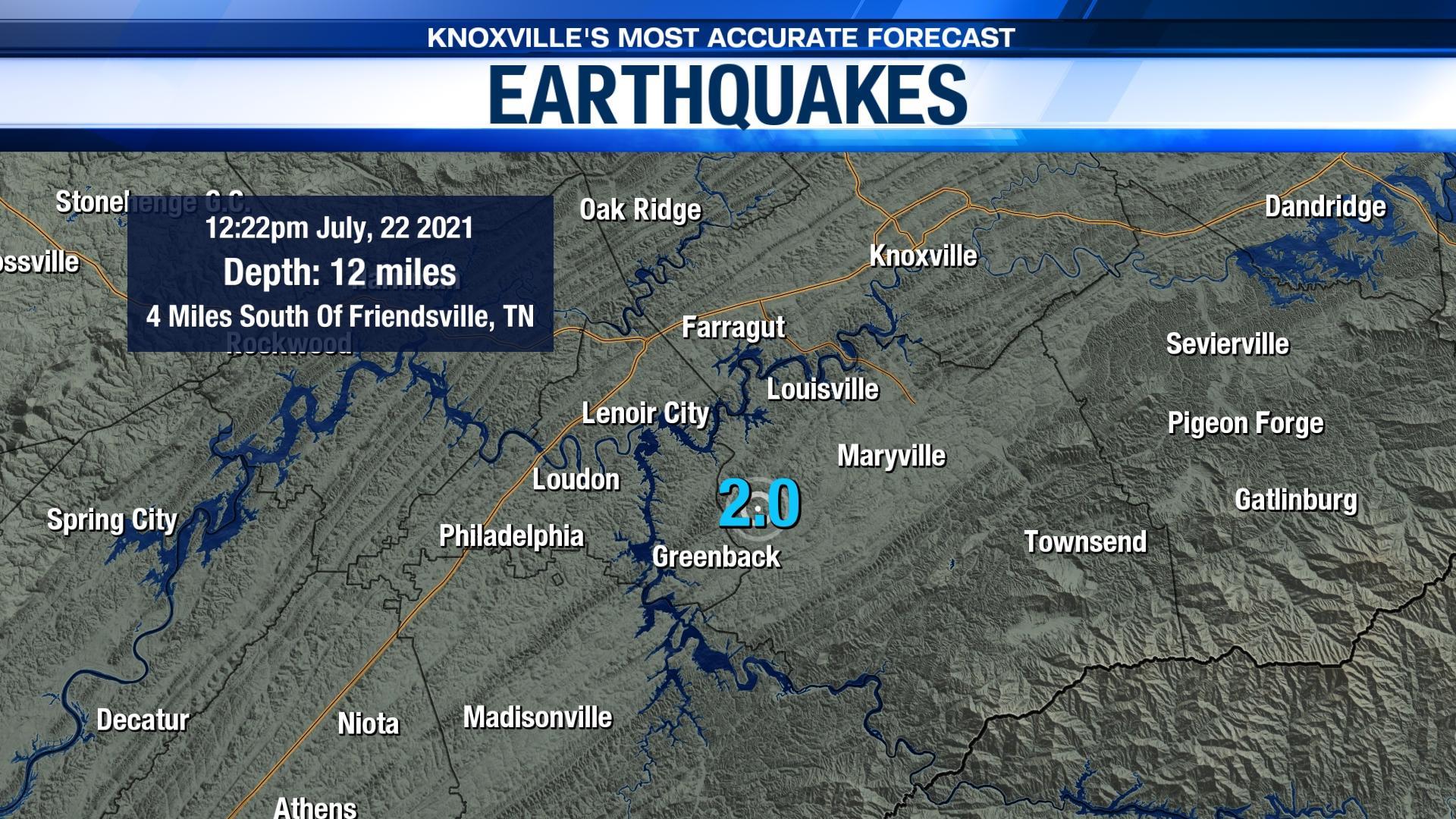 east tennesse earthquake july 22 2.0 magnitude