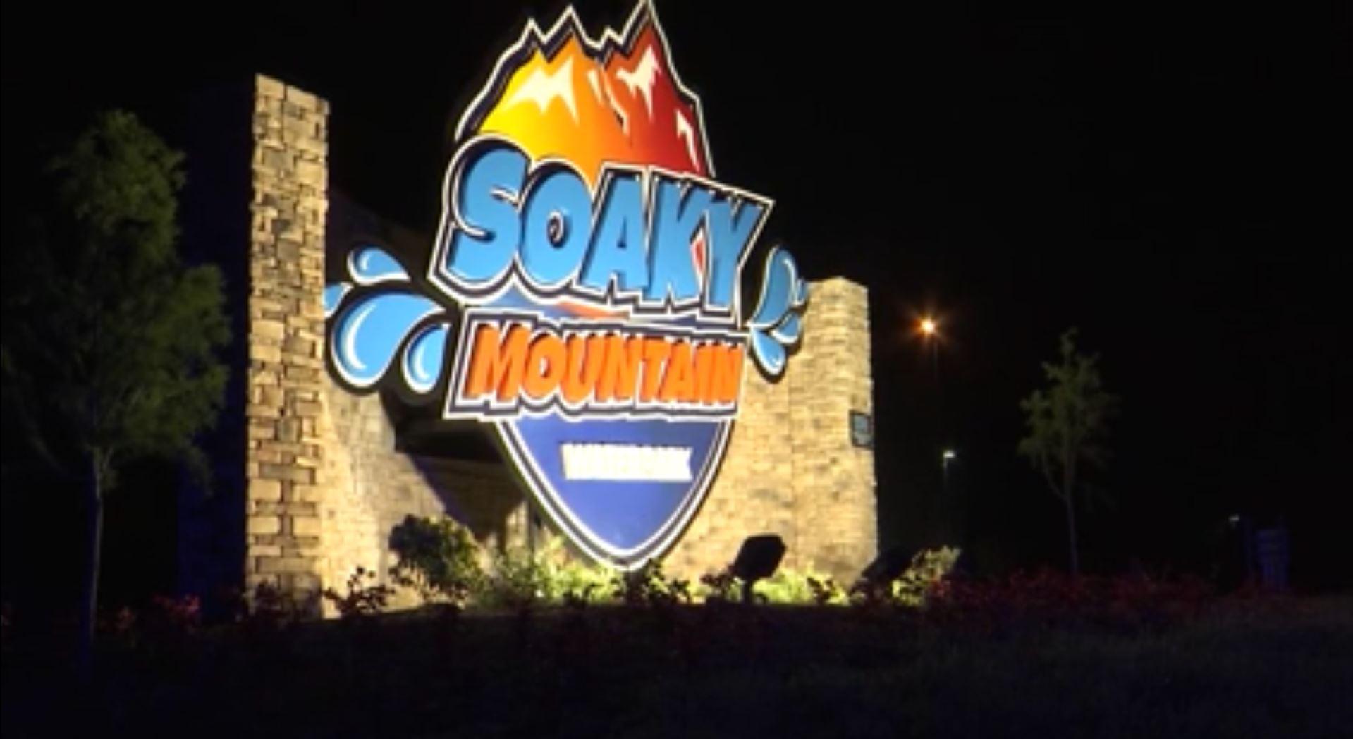 Soaky Mountian waterpark sign night of shooting