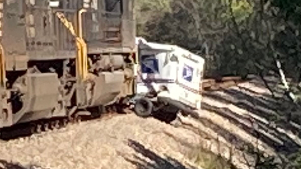 knox county train strikes mail truck critical condition